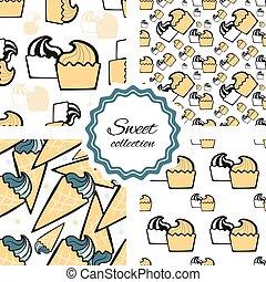 Seamless pattern with hand drawn cupcake.