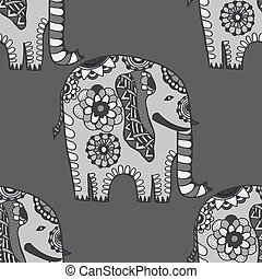 Hand Drawn Ethnic Elephant.