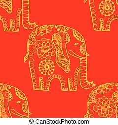 Hand Drawn Ethnic Elephant