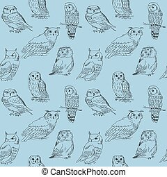Seamless pattern with hand drawn forest owls