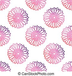 Seamless Pattern With Hand Drawn Gerberas