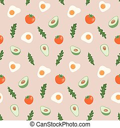 Seamless pattern with hand drawn healthy food.