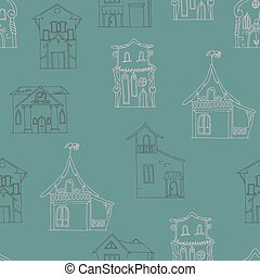 Seamless pattern with hand-drawn houses of different styles on a dark brown background.