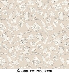 Seamless pattern with hand-drawn hygiene elements