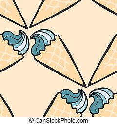 Seamless pattern with hand drawn ice cream.