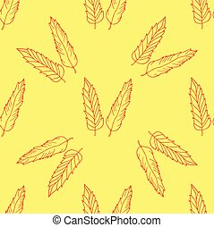 Seamless pattern with hand drawn feathers on yellow background