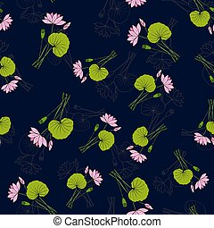 Seamless pattern with hand drawn lotus