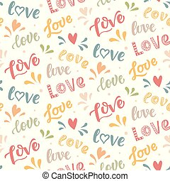 Seamless pattern with hand drawn Love lettering