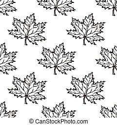 Seamless Pattern with Hand Drawn Maple Leaves