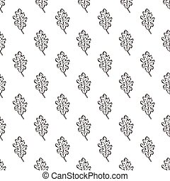 Seamless Pattern with Hand Drawn Oak Leaves