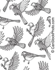 Seamless pattern with hand drawn ornate birds.