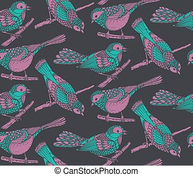 Seamless pattern with hand drawn ornate birds jn branches.