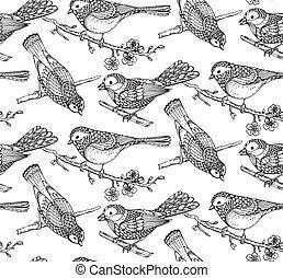Seamless pattern with  hand drawn ornate birds on sakura flower