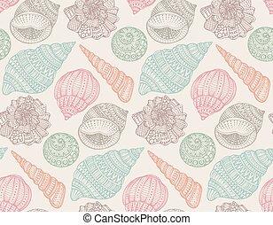 Seamless pattern with hand drawn ornate seashells.