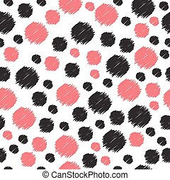 Seamless pattern with hand drawn red and black circles. Seamless pattern can be used for wallpapers, web page backgrounds, surface textures