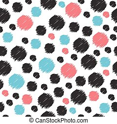 Seamless pattern with hand drawn red, blue and black circles. Seamless pattern can be used for wallpapers, web page backgrounds, surface textures