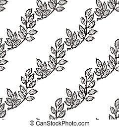 Seamless Pattern with Hand Drawn Rowan Leaves