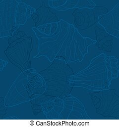 Seamless pattern with hand drawn sea shells