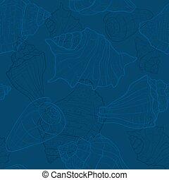 Seamless pattern with hand drawn sea shells