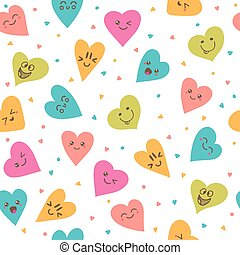 Seamless pattern with hand drawn smiley hearts. Cute cartoon characters.