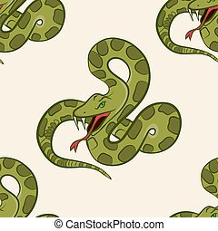 Seamless pattern with hand drawn snake