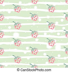 Seamless pattern with hand drawn strawberries on white background