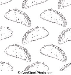 Seamless pattern with hand drawn taco. Background for fast food restaurant, eatery, diner or take away bag design