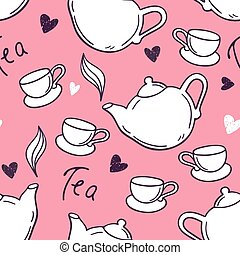 Seamless pattern with hand drawn tea cup and teapot. Doodle background
