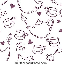 Seamless pattern with hand drawn tea cup and teapot. Outline style background