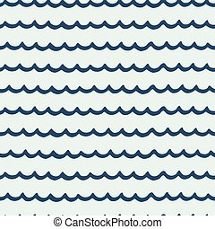 Seamless pattern with hand drawn wavy lines on ligth blue background