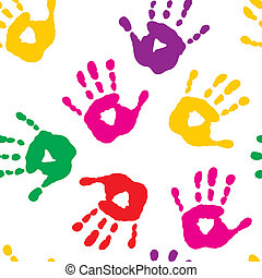 Seamless pattern with handprints