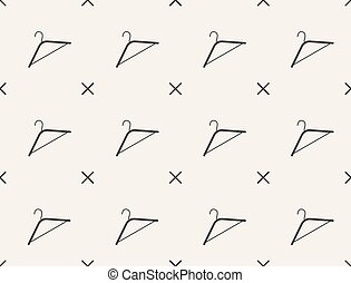 Seamless pattern with hanger, vector, tailoring