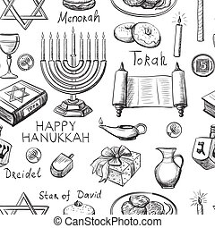 seamless pattern with Hanukkah symbols with candlestick,...