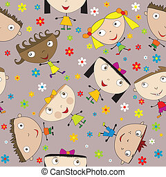 Seamless pattern with happy children and flowers