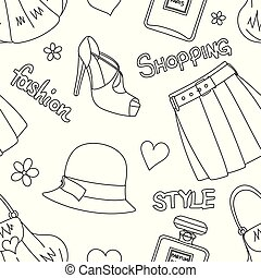 Seamless pattern with hats, bottles of perfume, footwear, skirt and handbags