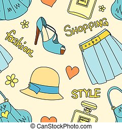 Seamless pattern with hats, bottles of perfume, footwear, skirt, handbags, hearts and flowers