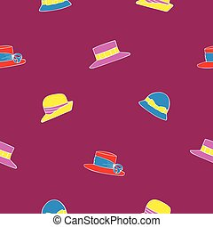 Seamless pattern with hats on a pink background.