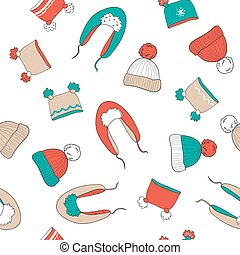 Seamless pattern with hats