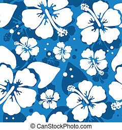 Seamless pattern with hawaiian hibiscus flower