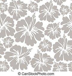 Seamless Pattern With Hawaiian Hibiscus Flower. Vector