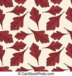 Seamless pattern with hawthorn  autumn leaves.