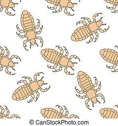Seamless pattern with head human louse. Pediculus humanus capitis .    hand-drawn head human louse . Vector