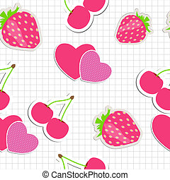 Seamless pattern with heart, cherry, strawberry. Vector illustration