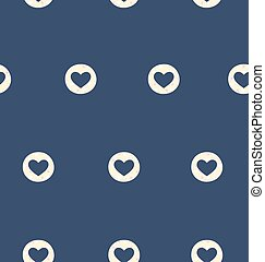 Seamless pattern with heart isolated on blue