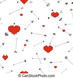 Seamless pattern with hearts and arrows
