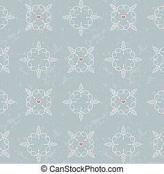 seamless pattern with hearts and lines