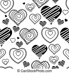 Seamless pattern with hearts. Black and white. Endless texture for romantic and wedding design