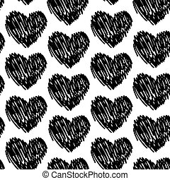 seamless pattern with hearts black and white. Vector