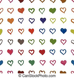 seamless pattern with hearts - pattern with hearts painted...