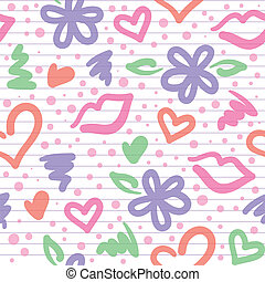 seamless pattern with hearts, flowers and kisses